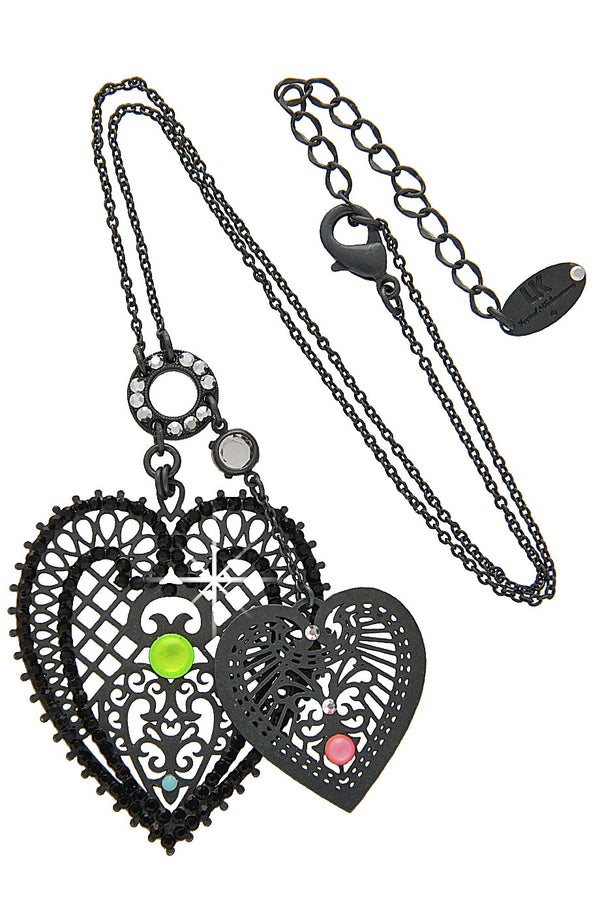 LK DESIGNS CHERI Multi Color Black Heart Pendant