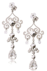 LK DESIGNS KATIA Silver Crystal Earrings