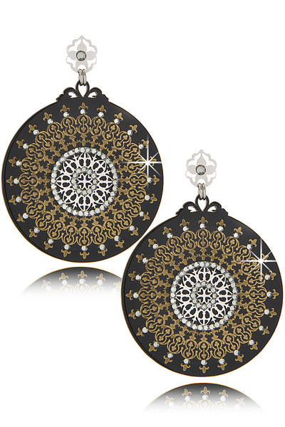 LK DESIGNS ORIENTAL DREAM Black Crystal Earrings