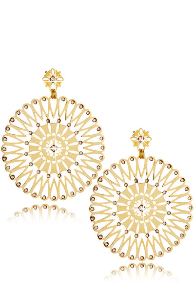 LK DESIGNS SERGIA Gold Round Crystal Earrings