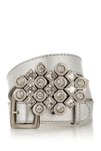 LK DESIGNS CRYSTAL CLUSTER Silver Leather Belt