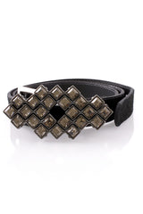LK DESIGNS LILIA Black Crystal Suede Leather Belt