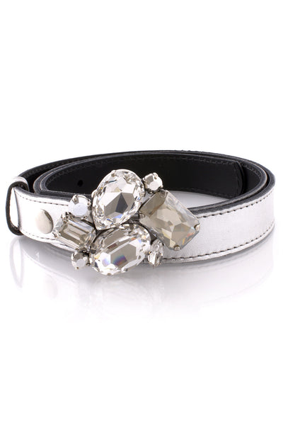 LK DESIGNS EGOIA Silver Crystal Leather Belt