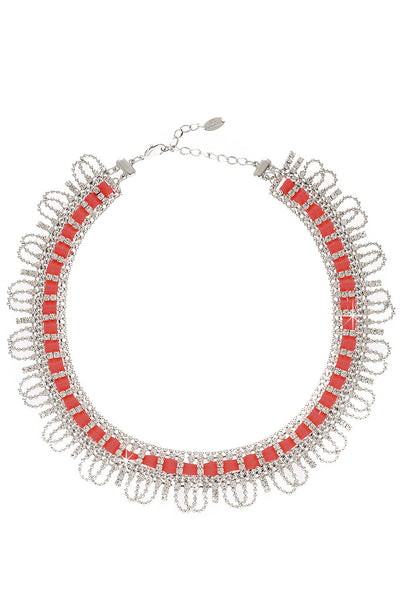 LK DESIGNS FRAME Silver Crystal Necklace