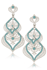 LK DESIGNS ALINE Silver Turquoise Earrings