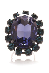 LK DESIGNS Amethyst Crystal Cocktail Ring