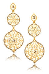 LK DESIGNS BELL Gold Crystal Earrings