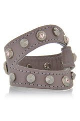 LK DESIGNS BORIS Leather Crystal Wristband Bracelet