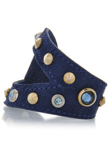 LK DESIGNS Blue Suede Crystal Wristband