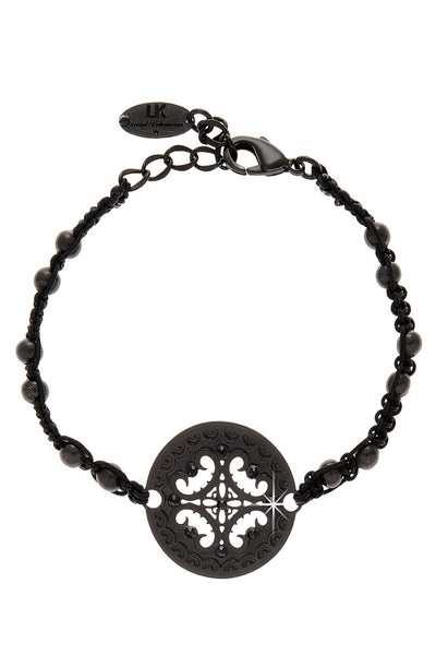 LK DESIGNS CIRCLE STAMP Black Friendship Bracelet