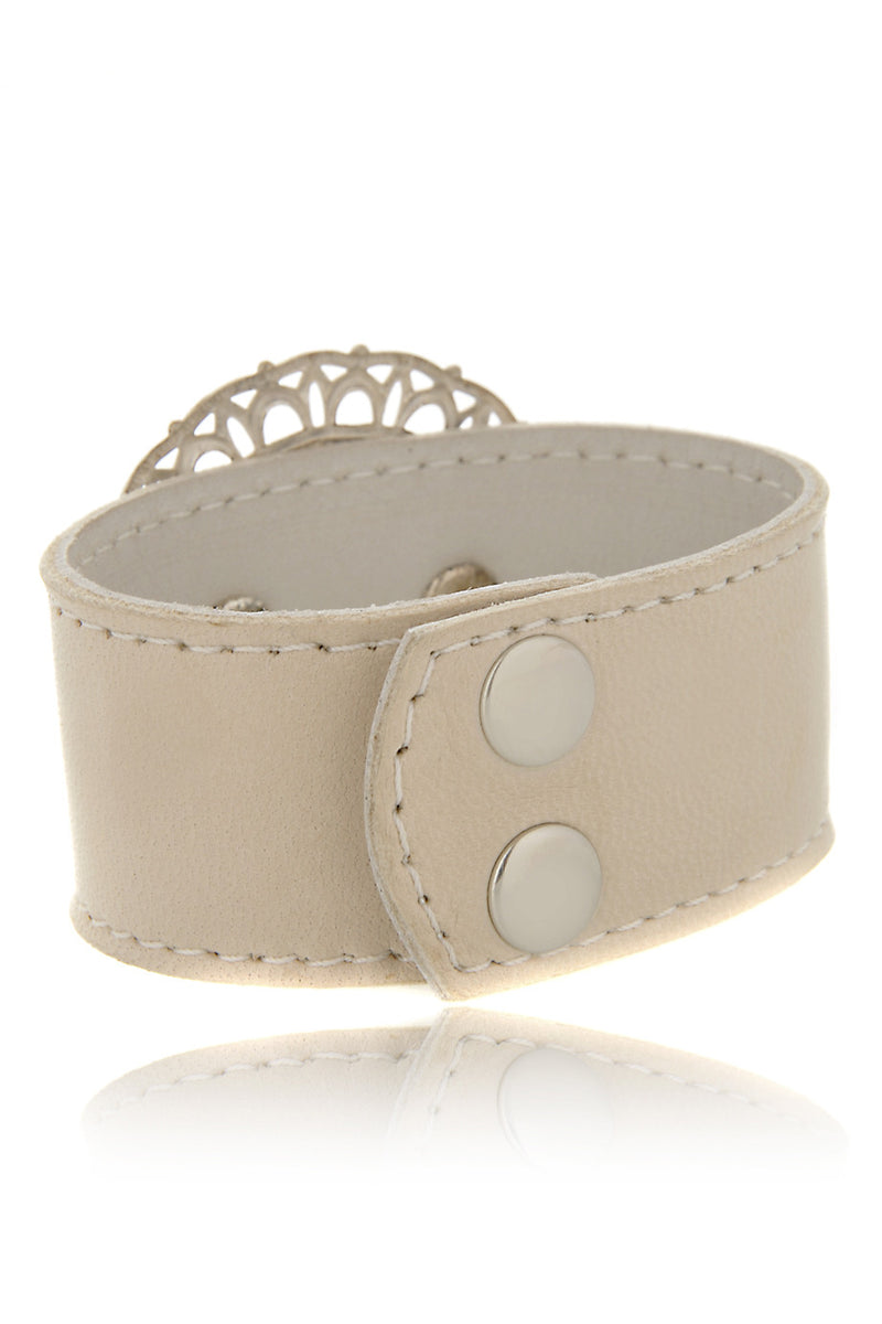 LK DESIGNS CRYSTAL FLOWER Leather Bracelet