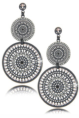 LK DESIGNS DOUBLE SUN Gray Crystal Earrings