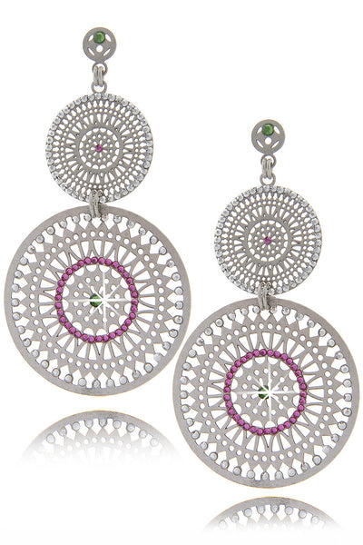 LK DESIGNS DOUBLE SUN Pink Crystal Earrings