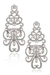 LK DESIGNS Dark Silver Chandelier Earrings