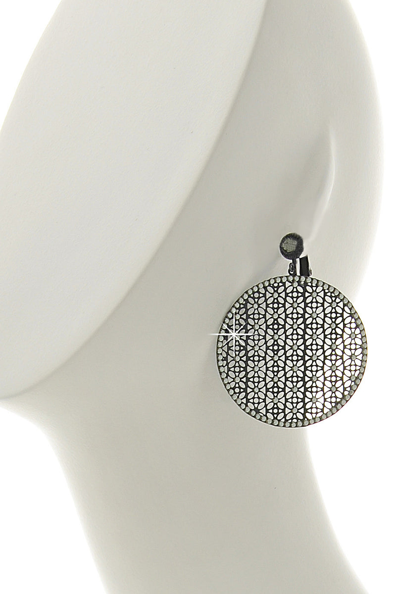 LK DESIGNS EMPIRE Grey Crystal Clip Earrings