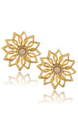 LK DESIGNS GOLD FLOWER Clip Earrings