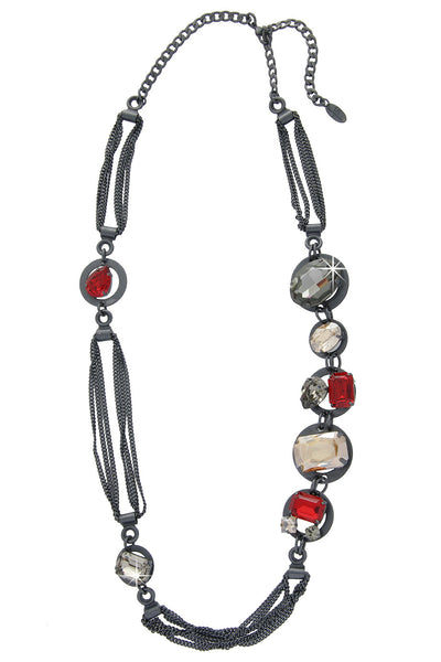 LK DESIGNS GUNMETAL Crystal Chain Necklace