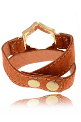 LK DESIGNS Gold Brown Leather Bracelet