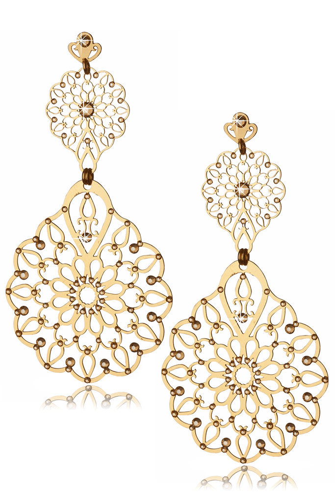 LK DESIGNS GOLD FLOWER Crystal Earrings