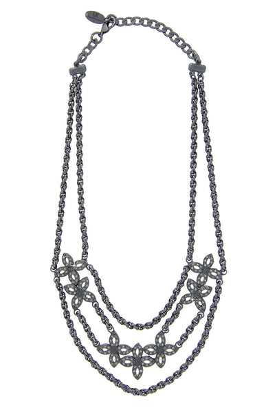 LK DESIGNS Gray Flower Necklace