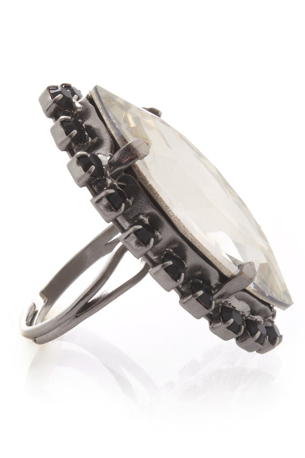 LK DESIGNS Gray Oval Crystal Ring