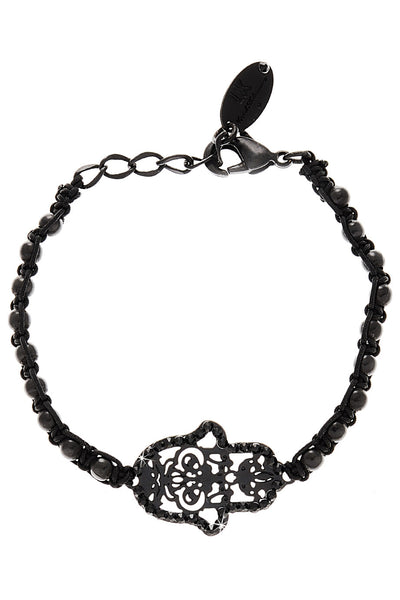LK DESIGNS HAMSA Black Beaded Bracelet