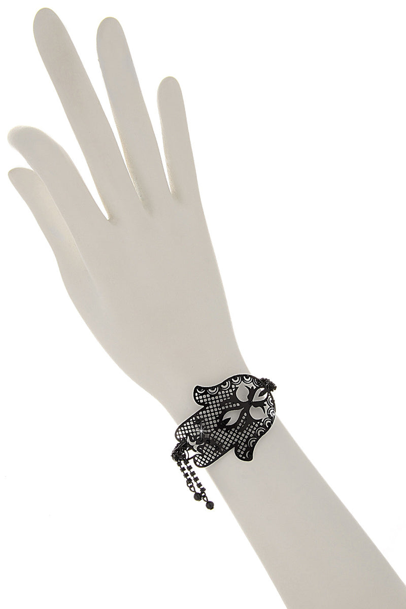 LK DESIGNS HAMSA Black Crystal Bracelet