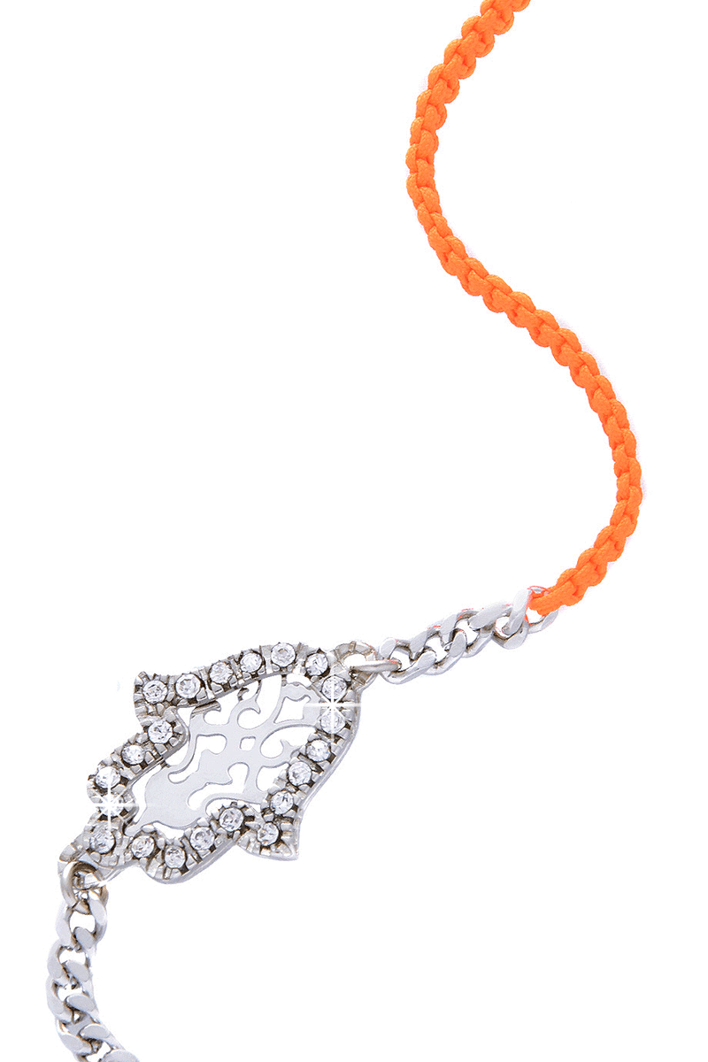LK DESIGNS HAMSA Fluo Orange Cord Bracelet