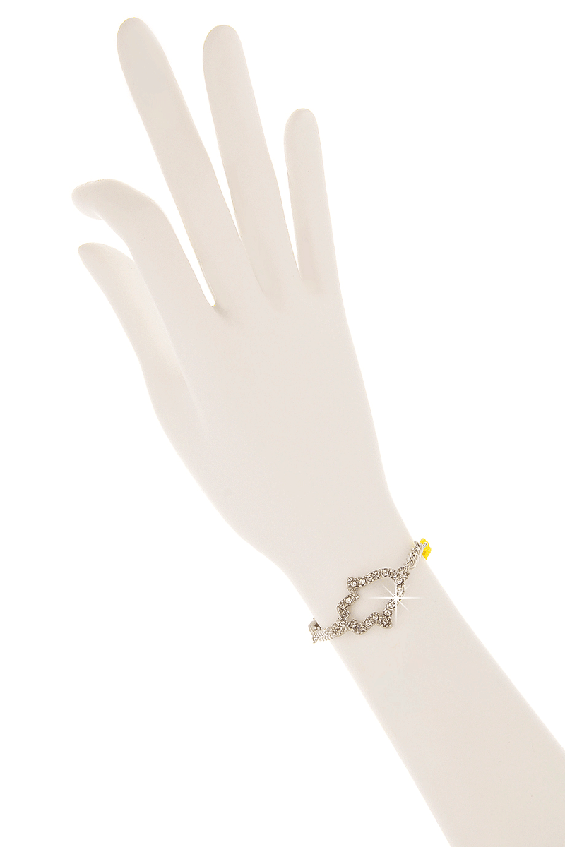 LK DESIGNS HAMSA Yellow Cord Bracelet