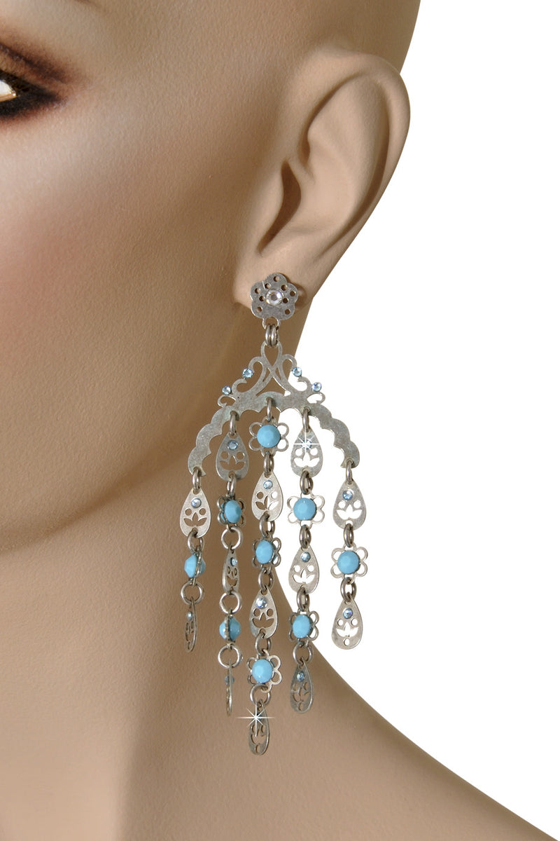 LK DESIGNS JULIA Light Blue Chandelier Earrings