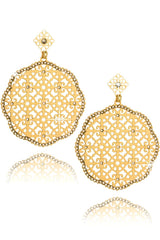 LK DESIGNS LUCIA Gold Round Earrings