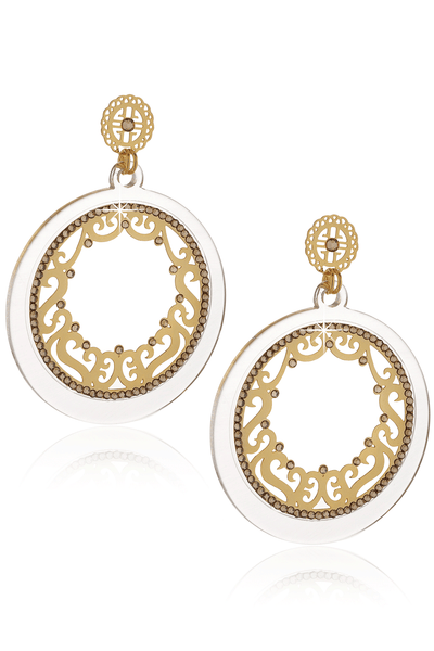 LK DESIGNS LUCIA Transparent Gold Crystal Filigree Earrings