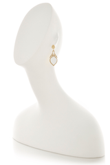LK DESIGNS MIDNIGHT MIST Small White Earrings