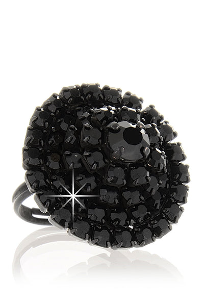 LK DESIGNS PYRAMID Black Crystal Ring