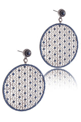 LK DESIGNS SURIAL Blue Crystal Earrings