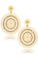 LK DESIGNS SURI Crystal Round Earrings