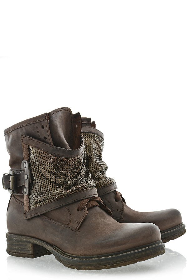 VERONIC Brown Studded Boots
