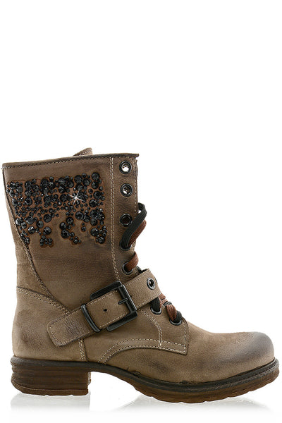 RENIA Brown Studded Boots