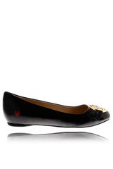 LOVE Black Patent Ballerinas