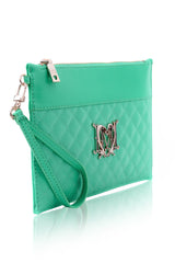 MONOGRAM Mint Quilted Clutch