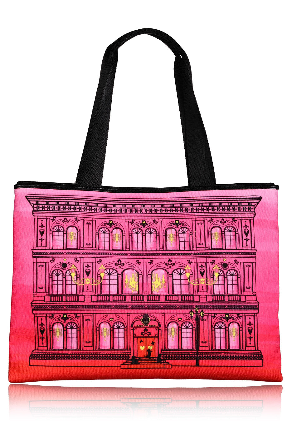LOVE MOSCHINO PALAZZO Fuchsia Red Canvas Bag – PRET-A-BEAUTE.COM b0612db16e623