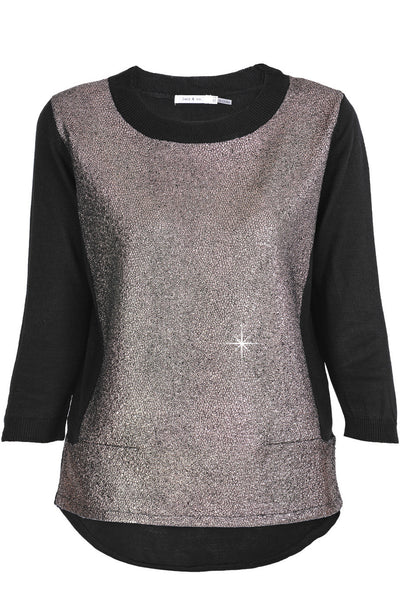 ALIN Black Nacre Crackled Blouse