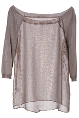 CYBELE Taupe Leopard Sheer Blouse