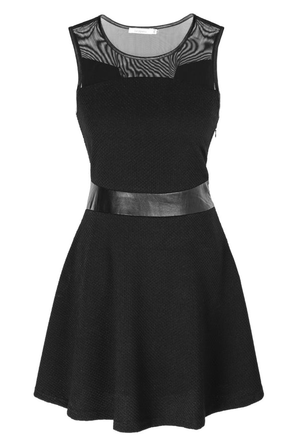 LUCY PARIS CYRA Black Pique Sleeveless Dress