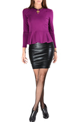 LUCY PARIS LOREIN Metallic Black Pencil Skirt