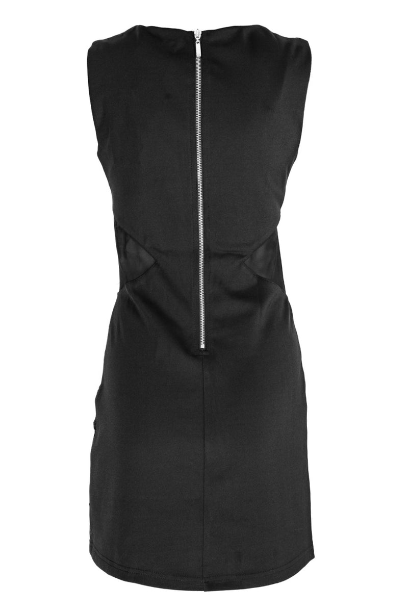 LUCY PARIS NAYA Black Lasercut Sleeveless Dress