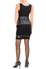 PANY Black Perforated Leather Skirt