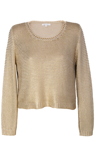 PERLA Metallic Gold Loose Knit Jumper