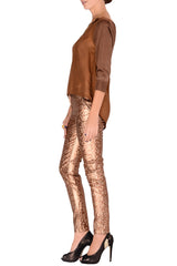 REINA Metallic Bronze Leopard Pants
