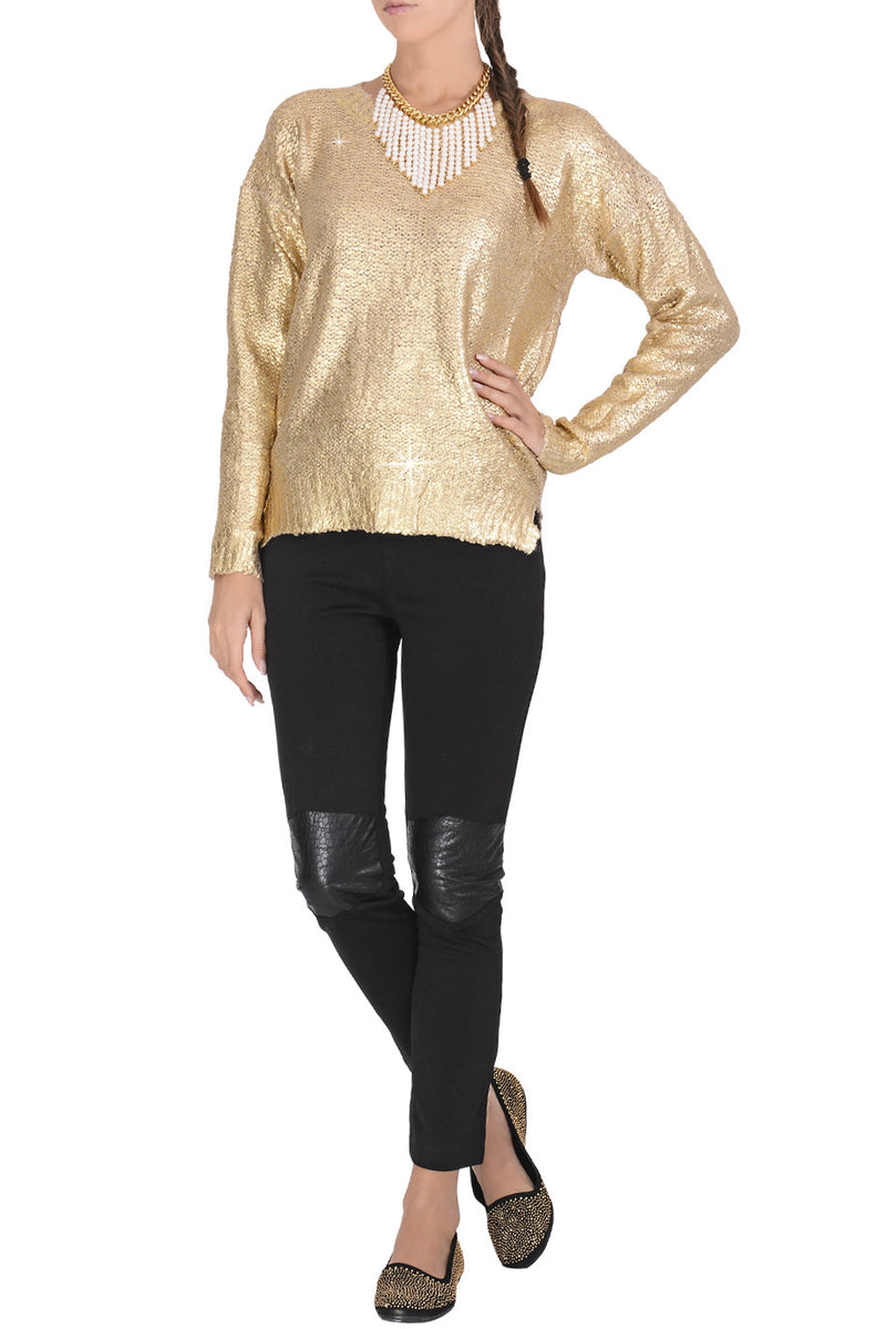 SIERA Metallic Gold Knitted Jumper